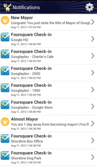 Uber Check-in Foursquare notifications checkin
