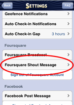 UberCheckin iOS customize foursquare shout, auto checkin