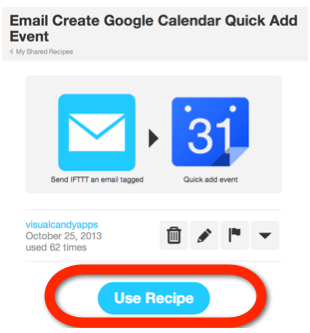 IFTTT email to calendar recipe