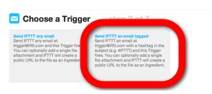IFTTT Email - choose trigger