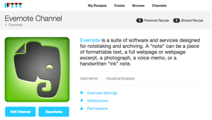 IFTTT Evernote channel