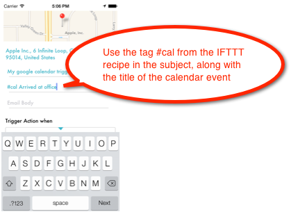 LIFTTT iOS Google calendar subject tag