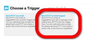 IFTTT Email - choose trigger