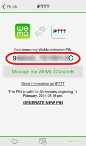 IFTTT Wemo Switch channel